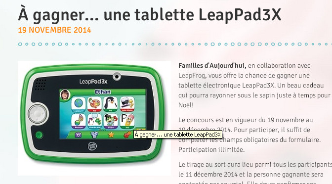 Concours, LeapPad3x, Tablette