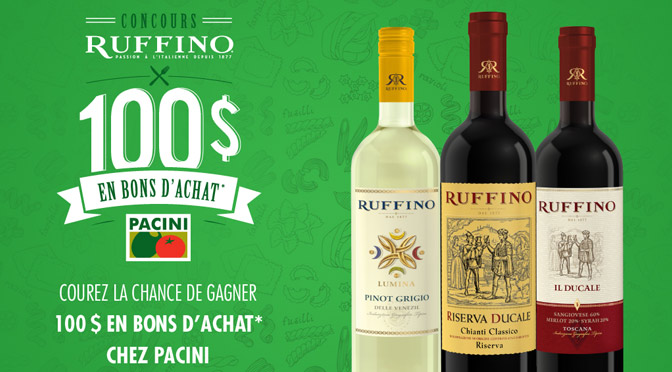 concours Ruffino 100$ chez Pacini