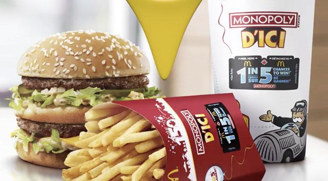 Concours Monopoly d'ici 2019 chez McDonald's Édition Canada