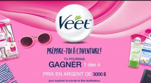 concours Veet 3000$ en argent à gagner prepare toi a l'aventure