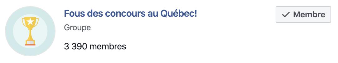 Groupe: Fous des concours au Québec