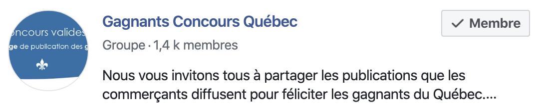 groupe gagnants Concours Québec
