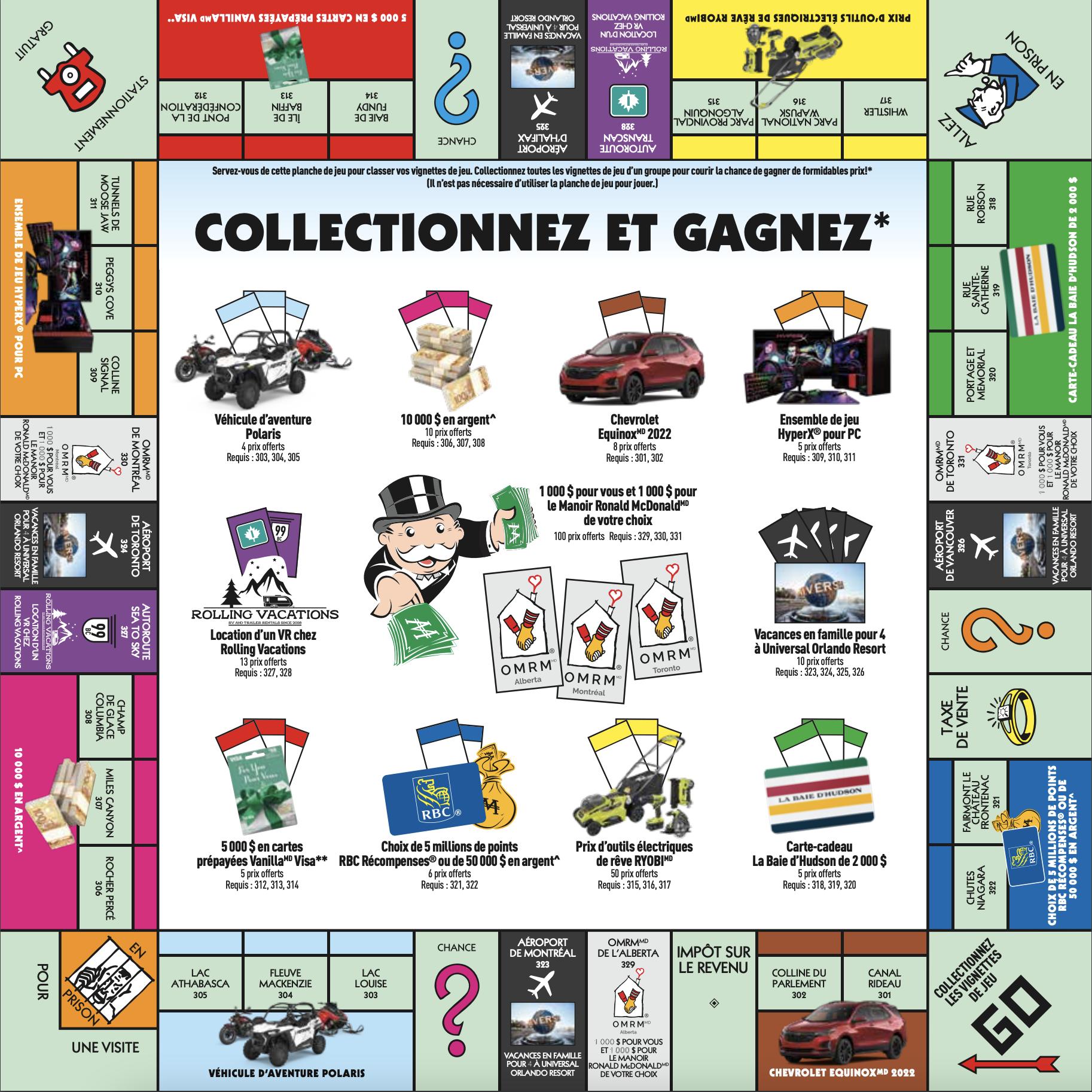 Planche de jeu monopoly d'ici McDonald 2021