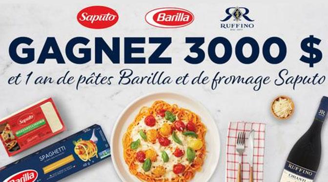 Concours Mois des pâtes Barilla et de fromages Saputo